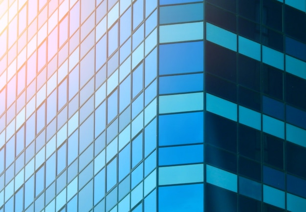 Close up of blue modern building.