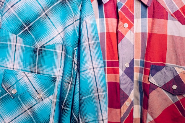 Close-up of blue and red plaid shirt