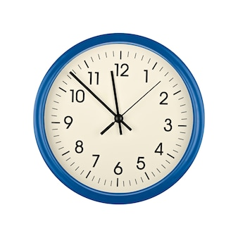 Close up blue wall clock face dial with arabic numerals, hour, minute and second hands isolated on white background