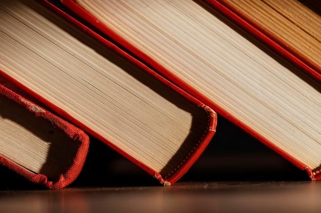 Close up books arrangement