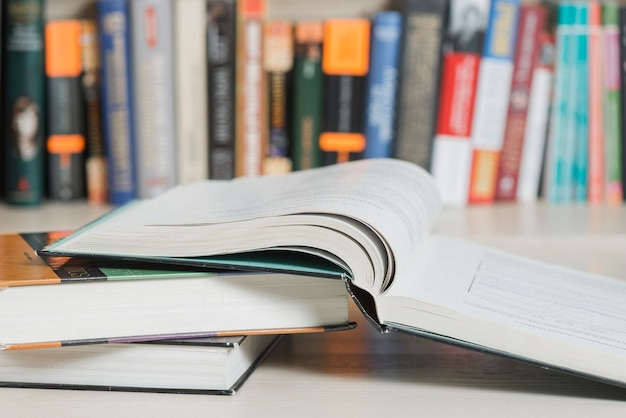 Close-up books near bookcase