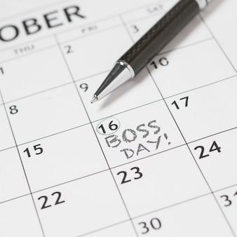 Close-up boss's day date in calendar
