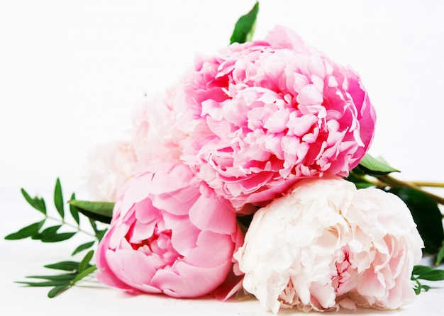 Close up  bouquet of fresh beautiful flowers lies on a white background . horizontal photo.