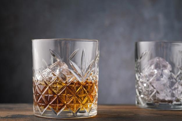 Close-up bourbon whiskey glass