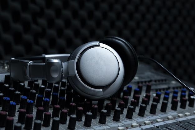Close-up of boutique recording studio control desk,