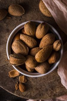 Close-up bowl full of walnuts