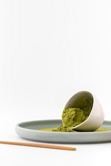 Close-up bowl with aromatic matcha powder
