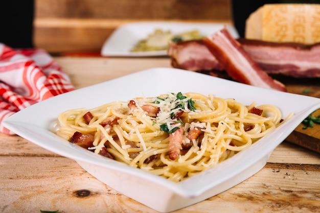 Close-upbowl with tasty pasta