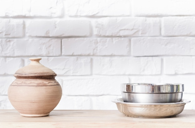Close-up bowls on tabletop in modern kitchen