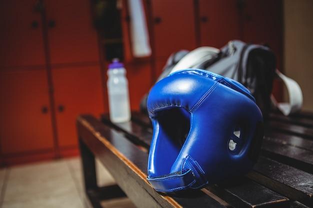 Close-up of boxing headgear