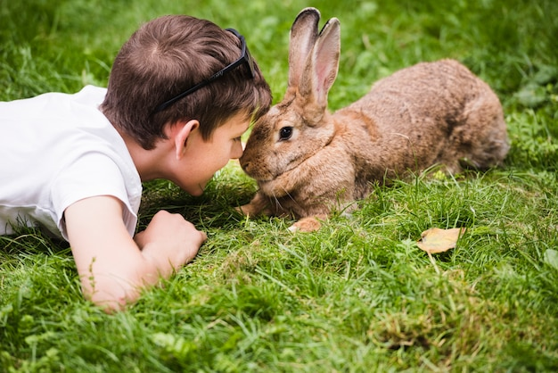 Close-up of boy lying on green grass looking in rabbit's eye