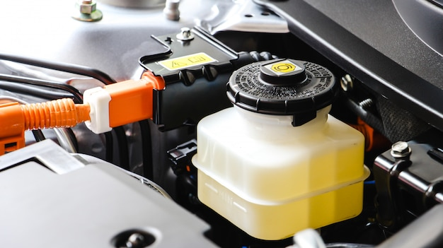 Close up brake and clutch fluid. car maintenance and check the level of brake and clutch fluid