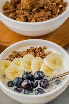 Close-up breakfast bowls with granola and blueberry