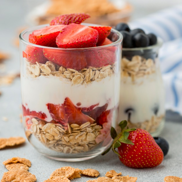 Close-up breakfast with cereals