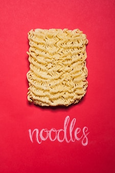 Close-up brick of dried noodle