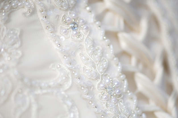 Close-up bridel wedding dress