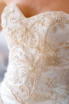 Close-up bridel wedding dress