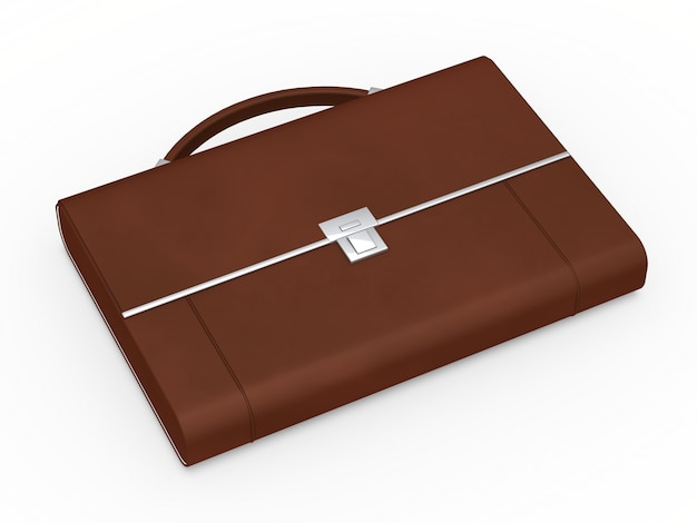 Close-up of brown briefcase