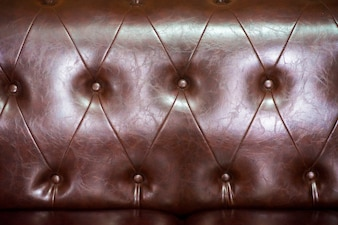 Close up brown leather sofa