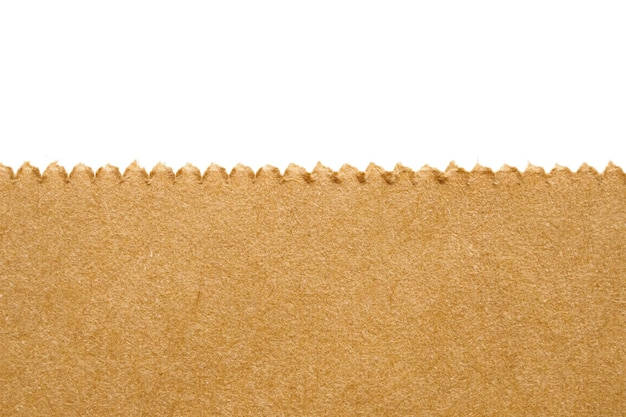 Close up brown paper bag texture isolated on white background
