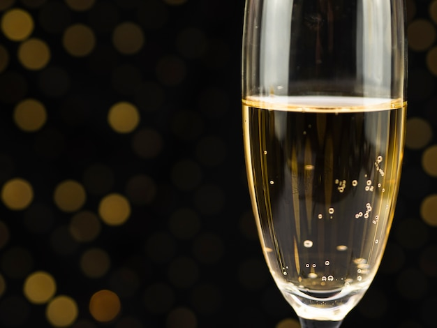 Close-up of bubbles in champagne glass