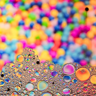 Close up bubbles with defocused surface