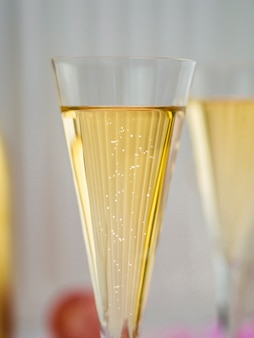 Close-up of bubbly champagne in glass