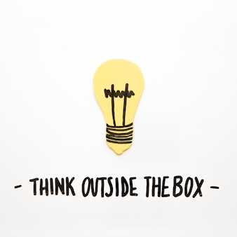 Close-up of bulb with think outside the box text on white background