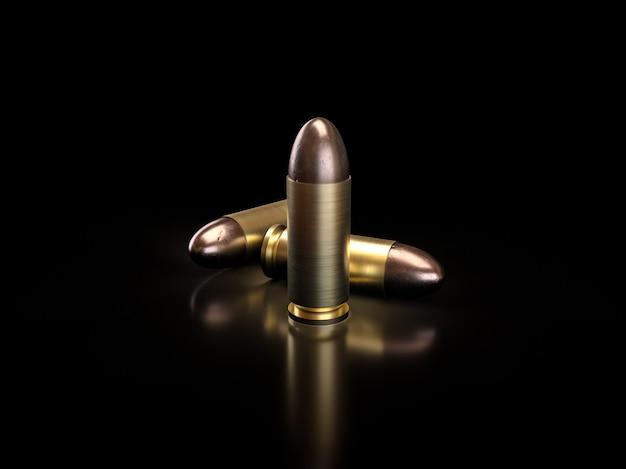 Крупный план, пули на черном фоне с тенью отражения