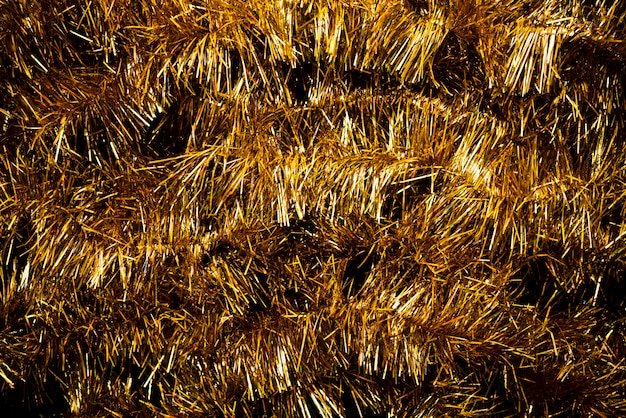 Close-up bunch of golden tinsel
