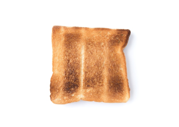 Close up on burned bread  isolated