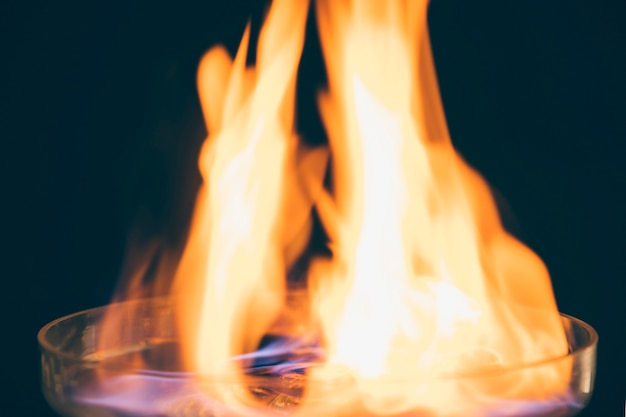 Close-up of a burning drink with fire flame