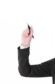 クローズアップ。仮想ポイントに鉛筆を指しているビジネスの女性。白い背景で隔離