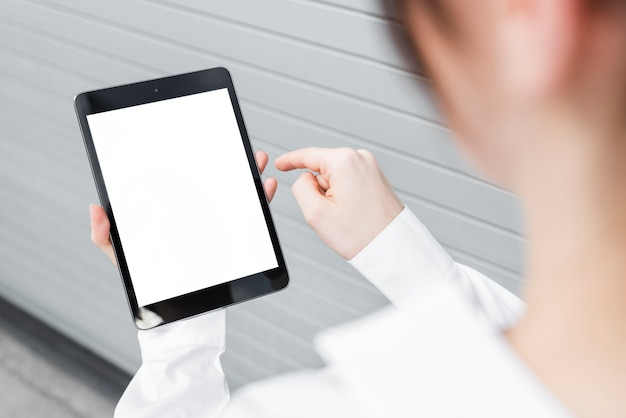 Close-up business woman with tablet mock-up