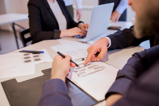 Close-up of businesspeople hands during discussion of business plan