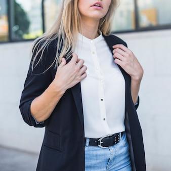 Close-up of a businesswoman wearing blazer