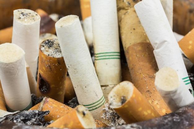 Close up butt cigarettes in ashtray