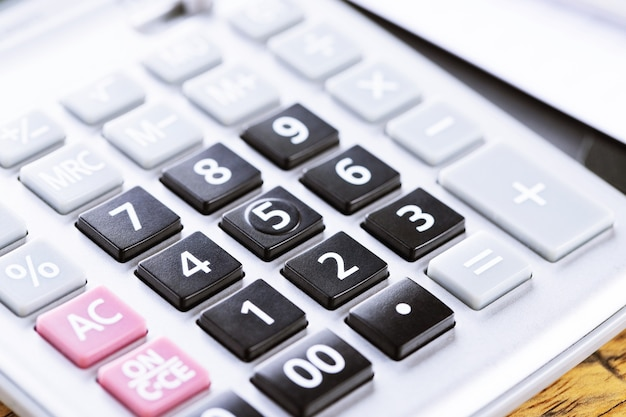 Close up calculator focus at on press button keyboard