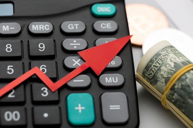 Close-up calculator for global economy and money