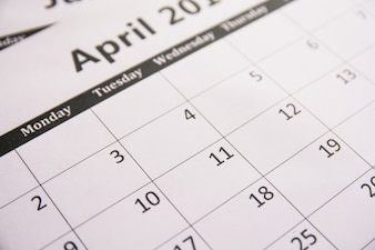 Close up calendar of page April background, Tax season