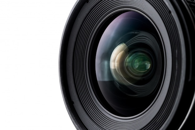 Close up of camera lens with a white background.