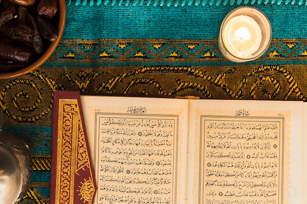 Close-up candle near quran