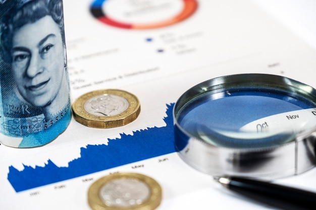 Close up capital graph and pound sterling banknote and coins with magnifier glass and pen
