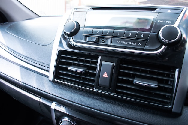 Close up car audio for entertainment.