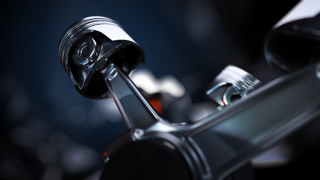 Close up on car engine details and elements