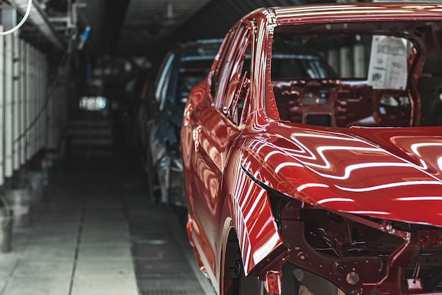 Close up on car factory production line