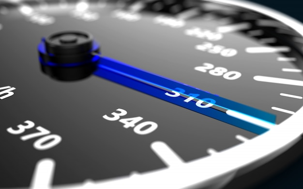 Close up of a car speedometer with the needle pointing a high speed