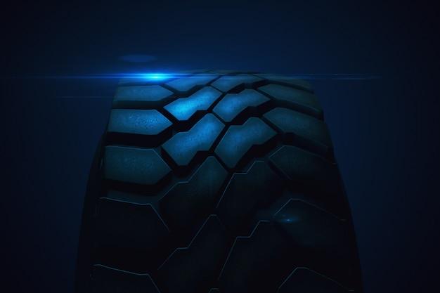Заделывают автомобильной шины в замедленном движении с рендерингом бликов 3d