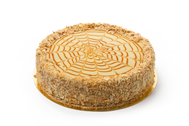 Close up on caramel cake isolated