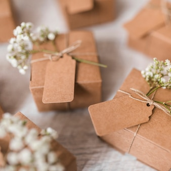 Close-up of cardboard gift boxes on wooden table